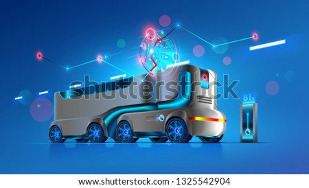 Autonomous driverless truck follows the specified route on the map. Automation interurban delivery transport. Self-driving vehicles of innovation logistics. Iot electric automatic lorry carrying cargo