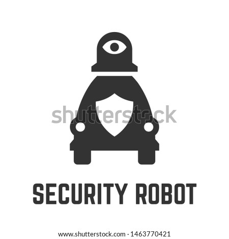 Autonomous security robot icon with self-drive machine for video surveillance, perimeter view and license plate recognition glyph symbol.