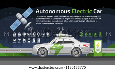 Autonomous self drive electric car vector with satellite, charge station, icon, road and city background.