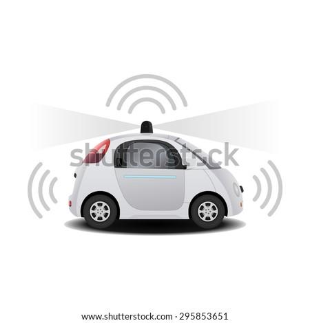 Autonomous self-driving (drive) driverless vehicle with radar 3D render