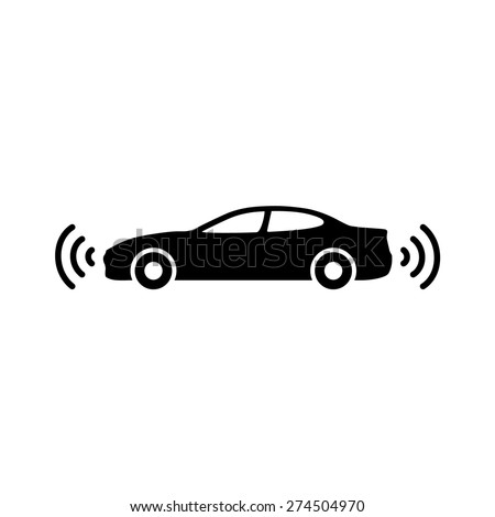 Autonomous self-driving driverless vehicle / car flat vector icon for apps and websites