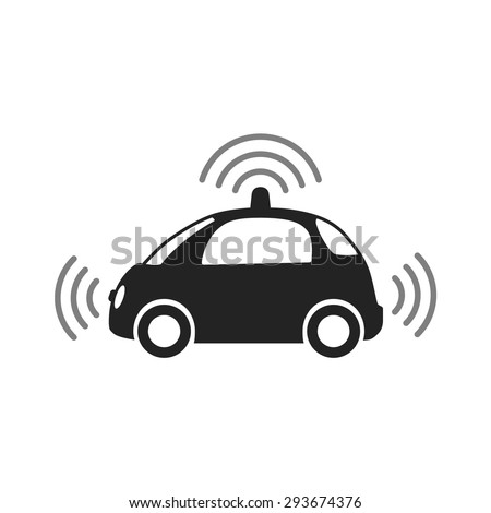 Autonomous self-driving driverless vehicle / car side view with radar flat vector icon