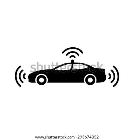 Autonomous self-driving driverless vehicle / car side view with radar flat vector icon for apps and websites