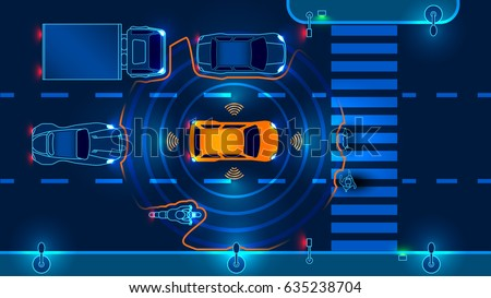 Autonomous smart car scans the road operates the machine automatically stops at the crosswalk in the city. Vector illustration.