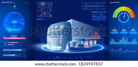 Autonomous smart truck. Unmanned vehicles. artificial intelligence controls the Autonomous truck. Hologram car style in HUD/UI/GUI. Hardware Diagnostics Condition of Car. Analysis and diagnostics auto