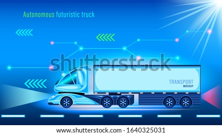 Autonomous smart truck with trailer. Unmanned vehicle. Side view. Futuristic design with blue neon light effect. Vector illustration stock.