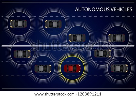 Autonomous vehicles concept. Vehicles equipped with sensory system for collision detection on the road. EPS 10 vector illustration.
