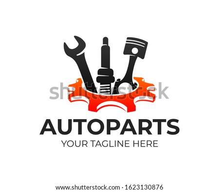 Autoparts in gear, auto piston, spark plug and wrench, logo design. Automotive parts, automobile detail and repairing car, vector design and illustration Foto d'archivio ©