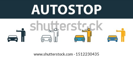 Autostop icon set. Four elements in diferent styles from travel icons collection. Creative autostop icons filled, outline, colored and flat symbols.