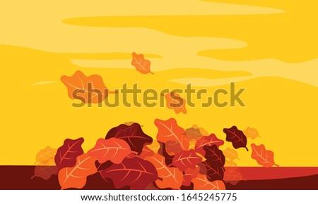 autum 5 orange flat background