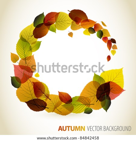 Autumn abstract floral background - circle from colorful leafs with place for your text
