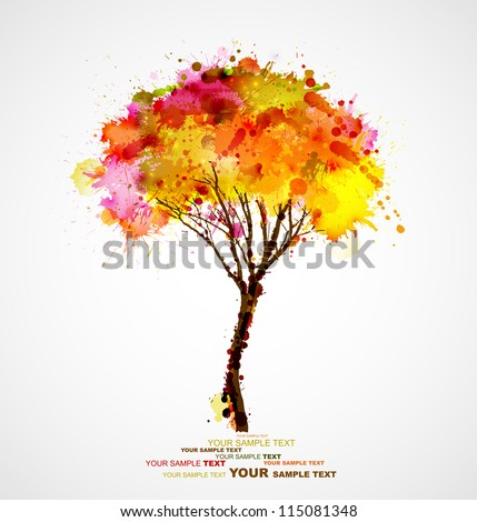 autumn abstract tree forming by