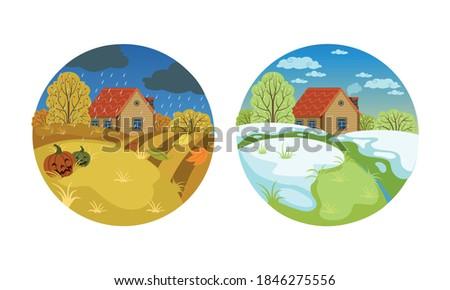 autumn and spring landscape set