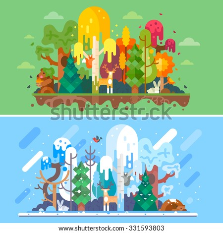 Autumn and winter forest landscapes with same animals. Seasons: autumn trees withs yellow and red-colored leaves, winter snowbound trees, rabbit, hare, bear, squirrel, deer. Flat vector illustration.
