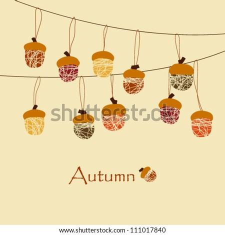 Autumn Background / Acorn Decoration #111017840