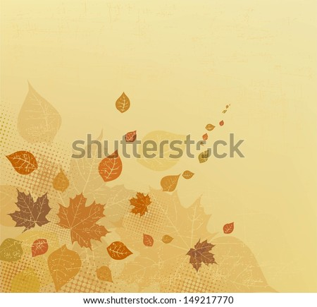 Autumn background. Autumn ornament. Abstract Autumn brown/beige design with leaves for banners, flyer, placard, invitation. Autumn vector design template