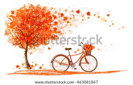 Stock Photo Autumn background with a tree and a bicycle. Vector