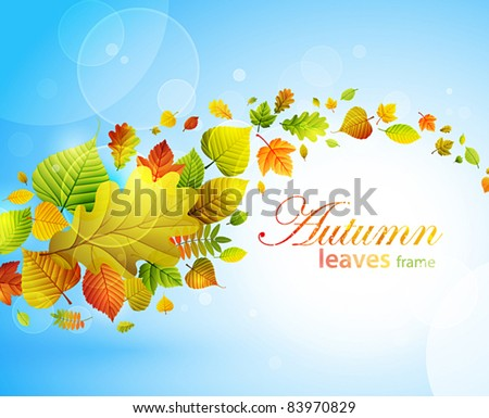Autumn background with colorful leaves on blue and place for text. Vector illustration. Check my portfolio for raster version.