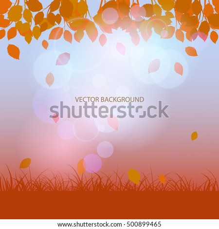autumn background with falling