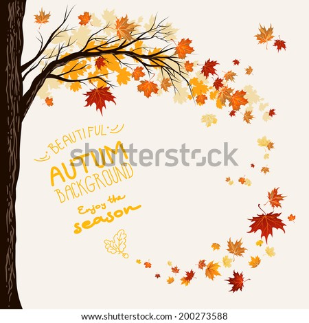 Autumn background with flying maple leaves. Space for text