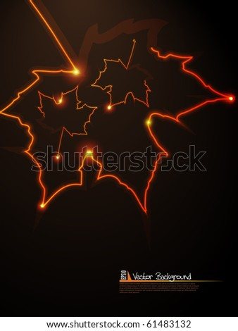 Autumn background with glowing leafs. Vector illustration.