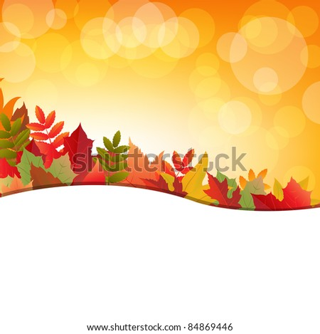 Autumn Background With Leafs, Vector Illustration
