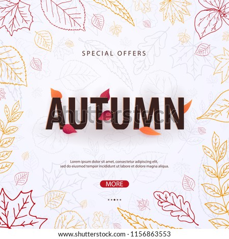 Autumn Background with leaves for shopping sale or promo poster and frame leaflet or web banner. Vector illustration template - Shutterstock ID 1156863553