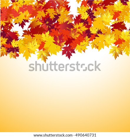 Autumn background with maple leaves. Vector Illustration