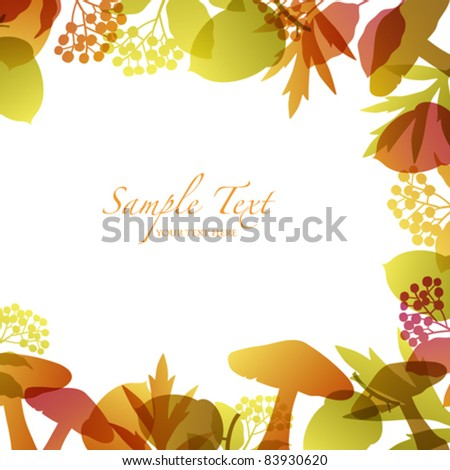 autumn background with seed and mushroom