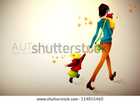 Autumn Background | Woman Waking Hurried With Her Children | Layered EPS10 Vector Illustration