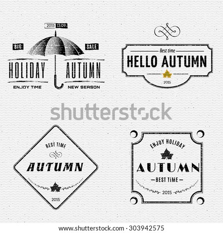 autumn badges logos and labels