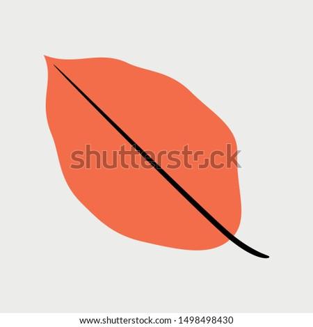 autumn beech leaf icon  flat