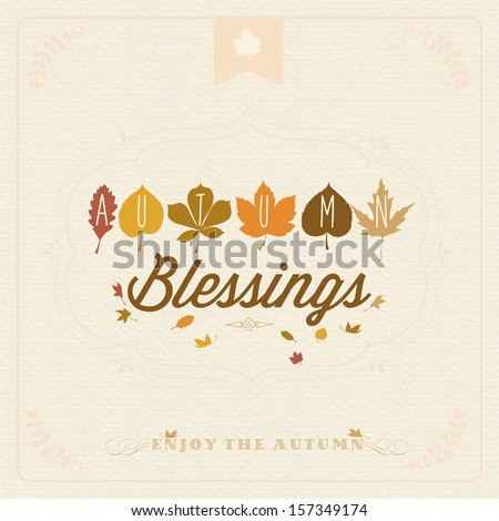 autumn blessings vintage...