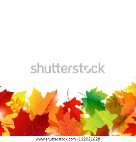 Autumn Border, Isolated On White Background, Vector Illustration