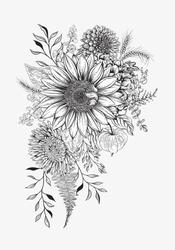 Autumn bouquet of flowers. Teacher's day. Vector illustration.
