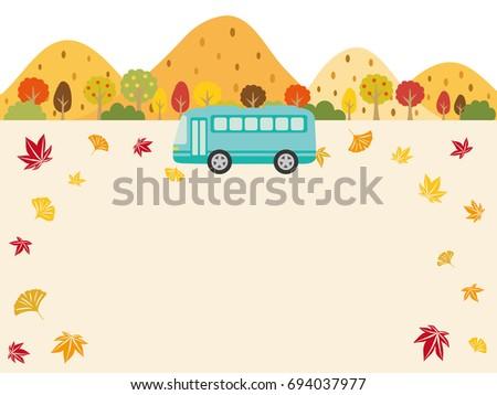 Autumn bus tour vector background