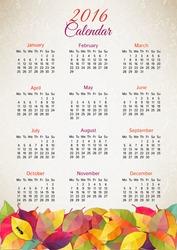 Autumn calendar 2016. Vector illustration