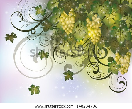 Autumn card with grapes, vector illustration