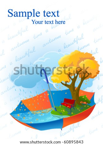 Autumn card with umbrella