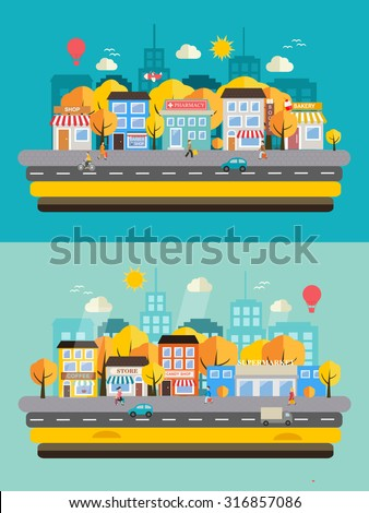 autumn city landscapes set with