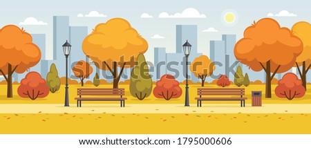autumn city park flat