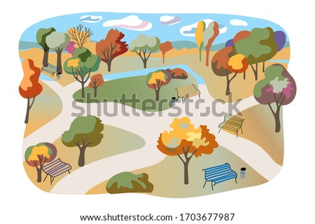 Autumn city park flat illustration. Hand drawn parkland isolated on white background. Town garden, recreational area, rest place. Comfortable benches, multicolor leaf trees, nature view