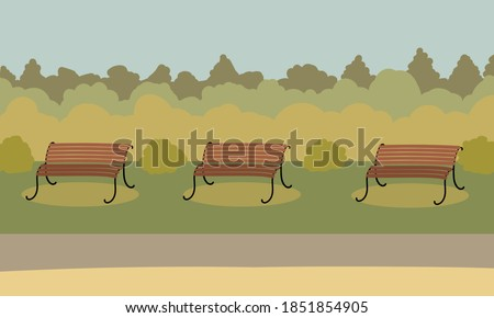 autumn city park with benches