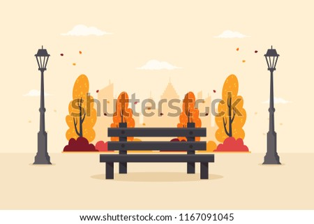 Autumn City Park with Wooden Bench, Colorful Trees and City Buildings in the  Background. Flat Design Style.