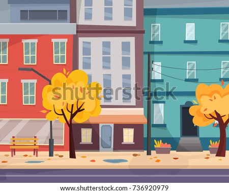 autumn city with falling leaves