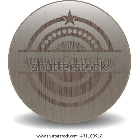 Autumn Collection retro style wooden emblem