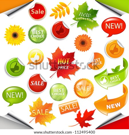 Autumn Collection Sale Elements With Leaves, Vector Illustration