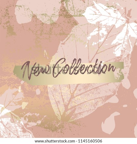 Autumn collection trendy chic gold blush background for social media, advertising, banner, invitation card, wedding, fashion header