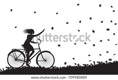 autumn come, girl riding on the bicycle and autumn leaves falling, silhouette, black and white, vector