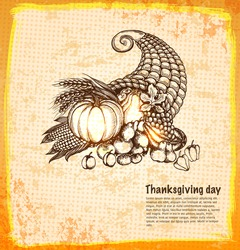 Autumn cornucopia full of harvest fruits and vegetables in a sketch style. Hand-drawn card for Thanksgiving day. Vector illustration.